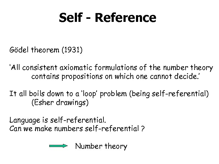 Self - Reference Gödel theorem (1931) 'All consistent axiomatic formulations of the number theory