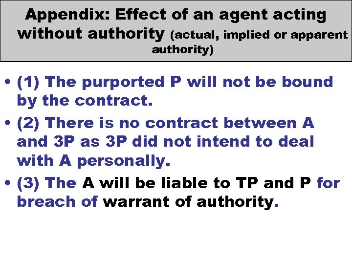 Appendix: Effect of an agent acting without authority (actual, implied or apparent authority) •