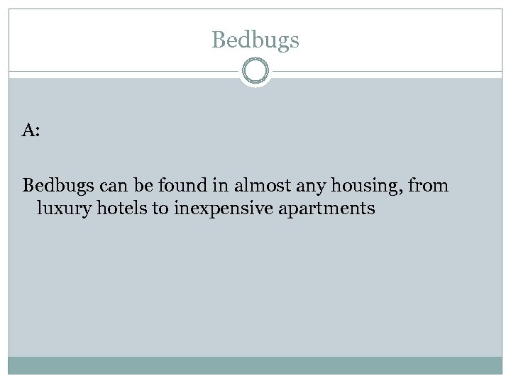 Bedbugs A: Bedbugs can be found in almost any housing, from luxury hotels to