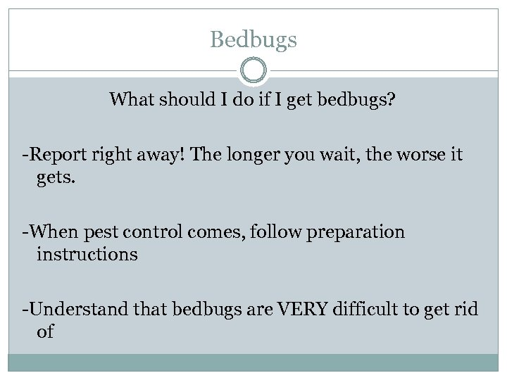 Bedbugs What should I do if I get bedbugs? -Report right away! The longer