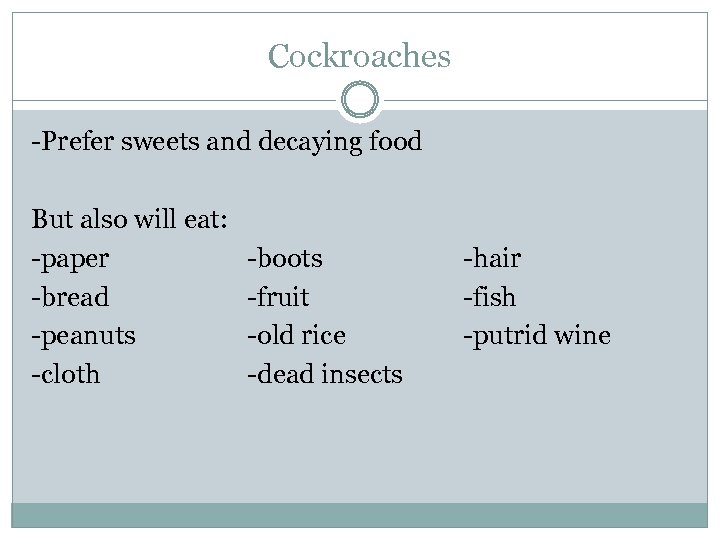 Cockroaches -Prefer sweets and decaying food But also will eat: -paper -bread -peanuts -cloth