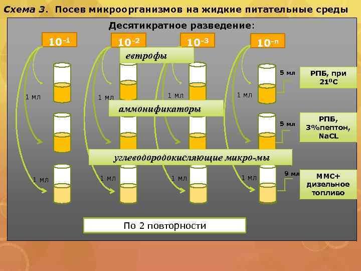 Схема 3. Посев микроорганизмов на жидкие питательные среды Десятикратное разведение: 10 -1 10 -2