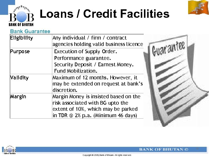 Loans / Credit Facilities Bank Guarantee Eligibility Any individual / firm / contract agencies