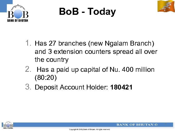 Bo. B - Today 1. Has 27 branches (new Ngalam Branch) and 3 extension