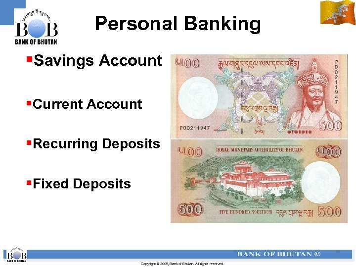 Personal Banking §Savings Account §Current Account §Recurring Deposits §Fixed Deposits 5 Copyright © 2009,