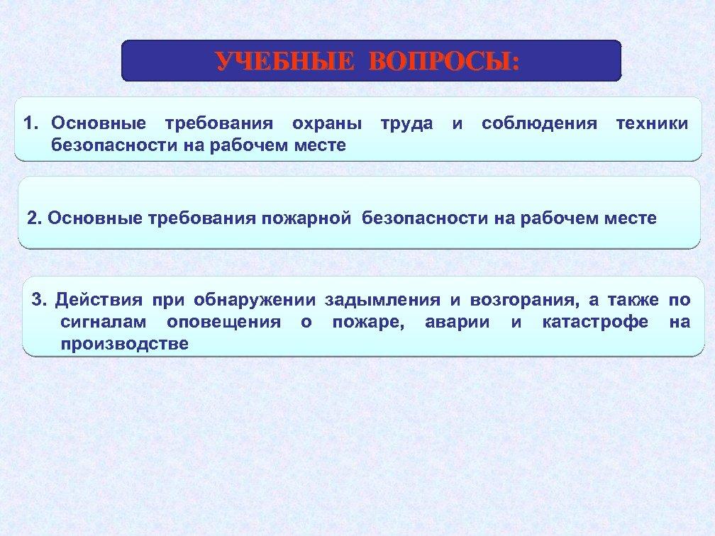 УЧЕБНЫЕ ВОПРОСЫ: 1. Основные требования охраны труда и соблюдения техники безопасности на рабочем