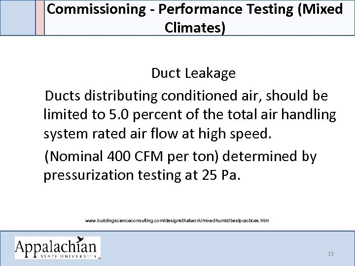 Commissioning - Performance Testing (Mixed Climates) Duct Leakage Ducts distributing conditioned air, should be