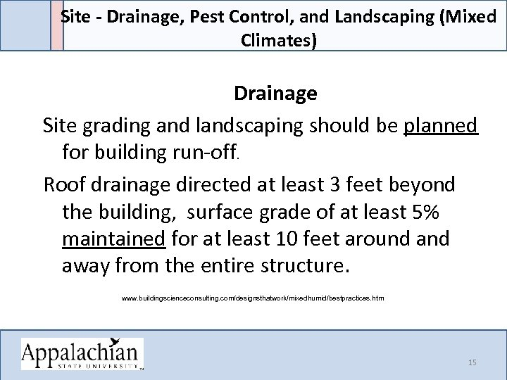 Site - Drainage, Pest Control, and Landscaping (Mixed Climates) Drainage Site grading and landscaping