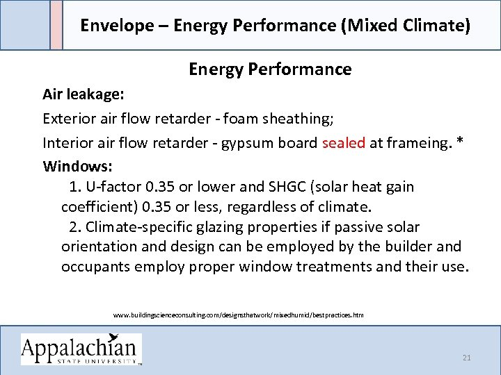 Envelope – Energy Performance (Mixed Climate) Energy Performance Air leakage: Exterior air flow retarder