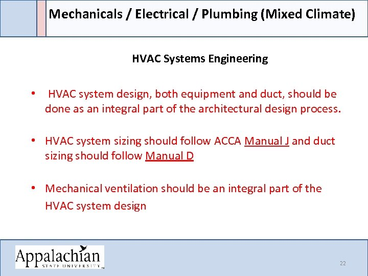 Mechanicals / Electrical / Plumbing (Mixed Climate) HVAC Systems Engineering • HVAC system design,
