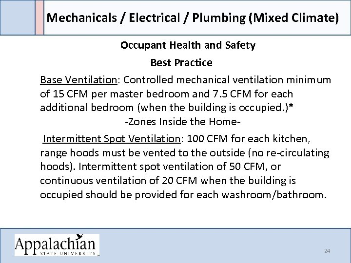 Mechanicals / Electrical / Plumbing (Mixed Climate) Occupant Health and Safety Best Practice Base