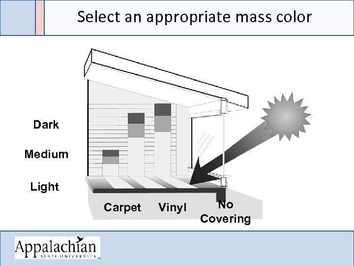 Select an appropriate mass color Dark Medium Light Carpet Vinyl No Covering