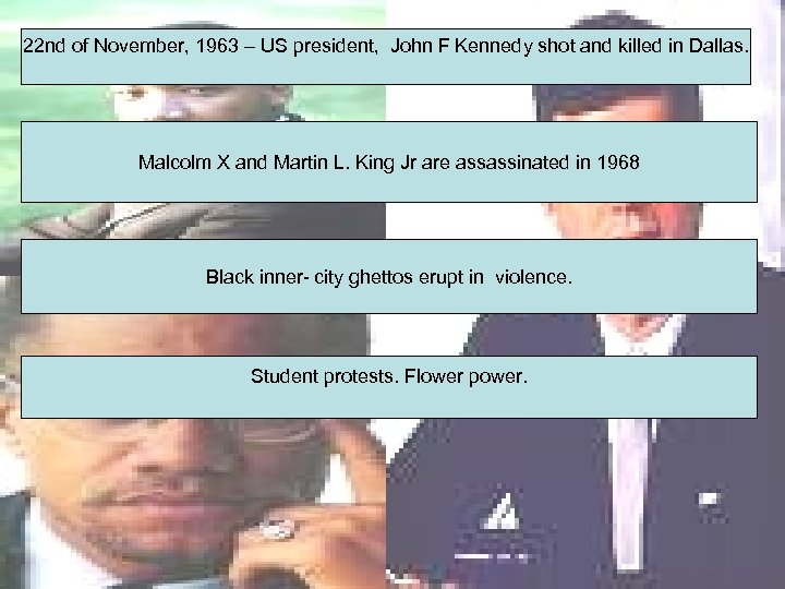 22 nd of November, 1963 – US president, John F Kennedy shot and killed