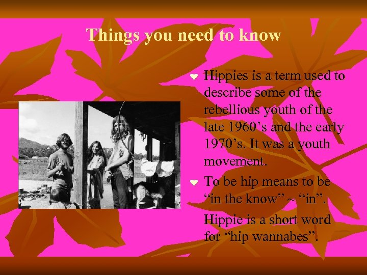Things you need to know ❤ ❤ Hippies is a term used to describe