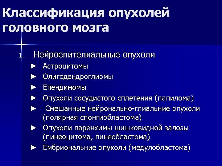 Классификация опухолей головного мозга 1. Нейроепителиальные опухоли Астроцитомы Олигодендроглиомы Епендимомы Опухоли сосудистого сплетения (папилома)