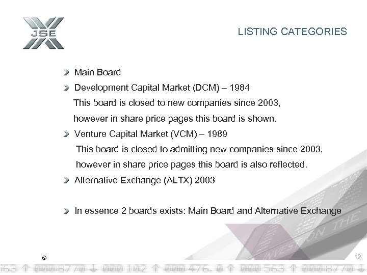 LISTING CATEGORIES Main Board Development Capital Market (DCM) – 1984 This board is closed