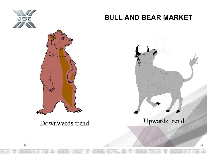 BULL AND BEAR MARKET Downwards trend © Upwards trend 14