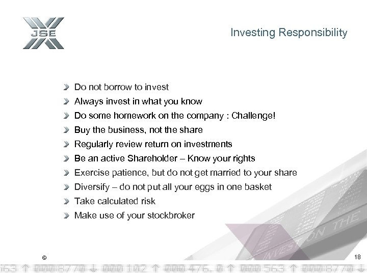 Investing Responsibility Do not borrow to invest Always invest in what you know Do
