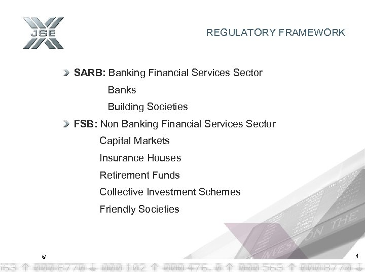 REGULATORY FRAMEWORK SARB: Banking Financial Services Sector Banks Building Societies FSB: Non Banking Financial