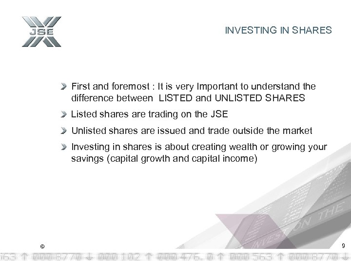 INVESTING IN SHARES First and foremost : It is very Important to understand the