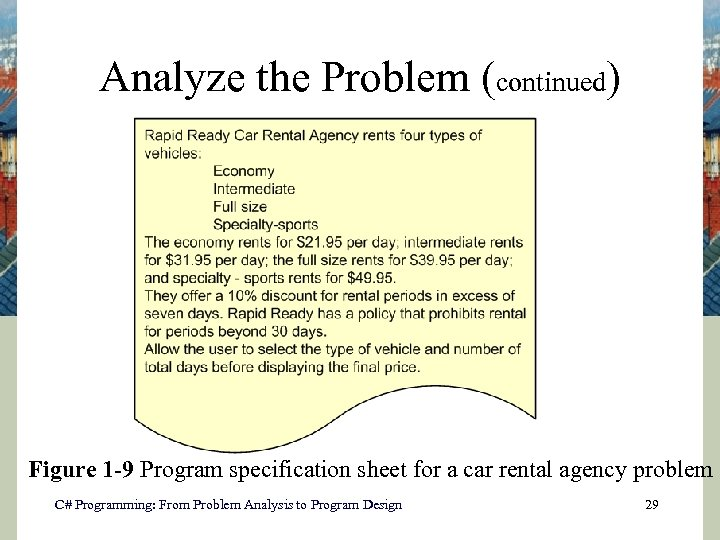 Analyze the Problem (continued) Figure 1 -9 Program specification sheet for a car rental