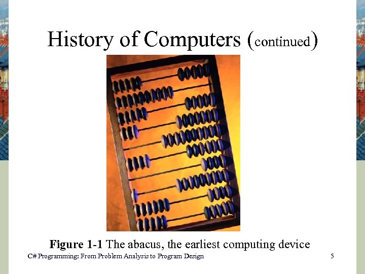 History of Computers (continued) Figure 1 -1 The abacus, the earliest computing device C#