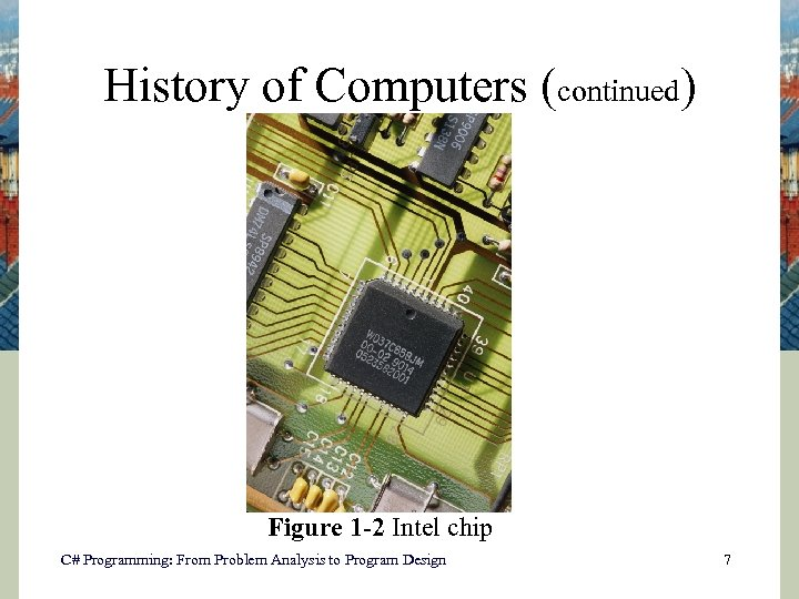 History of Computers (continued) Figure 1 -2 Intel chip C# Programming: From Problem Analysis