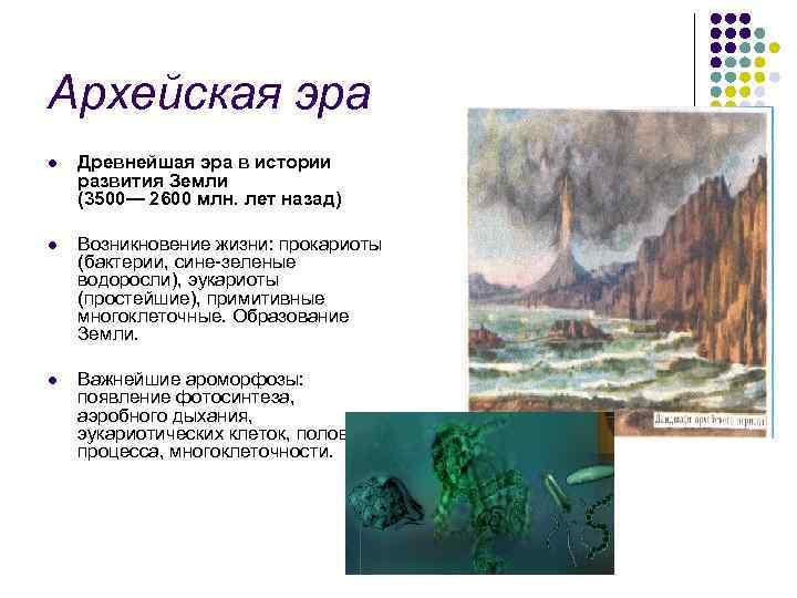 Архейская эра l Древнейшая эра в истории развития Земли (3500— 2600 млн. лет назад)