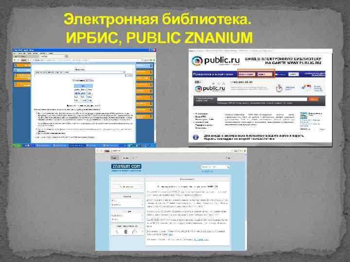 Электронная библиотека. ИРБИС, PUBLIC ZNANIUM