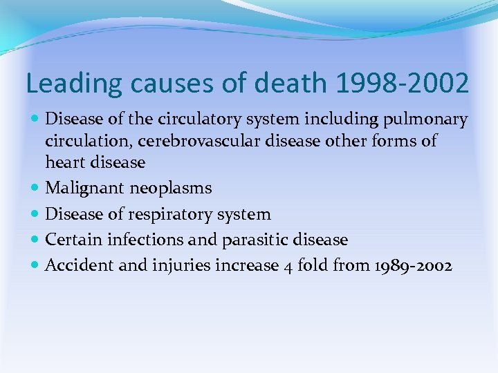 Leading causes of death 1998 -2002 Disease of the circulatory system including pulmonary circulation,