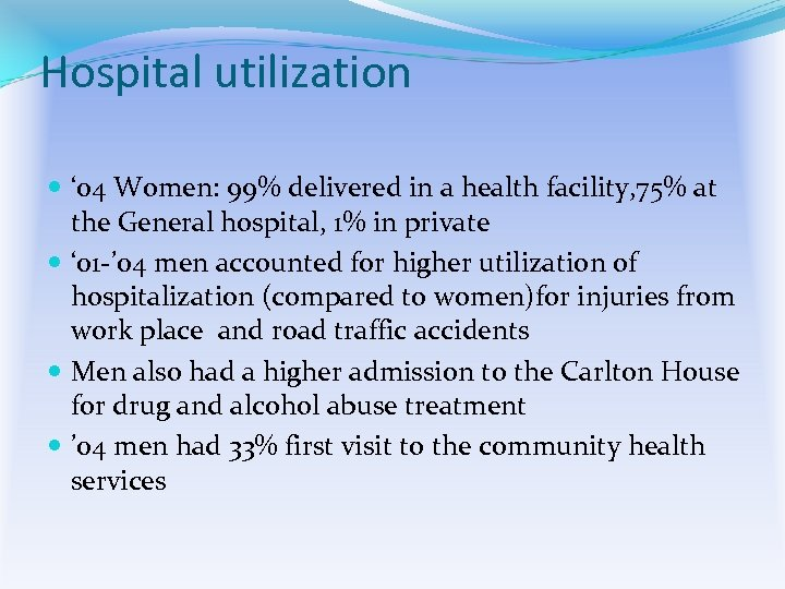 Hospital utilization ' 04 Women: 99% delivered in a health facility, 75% at the