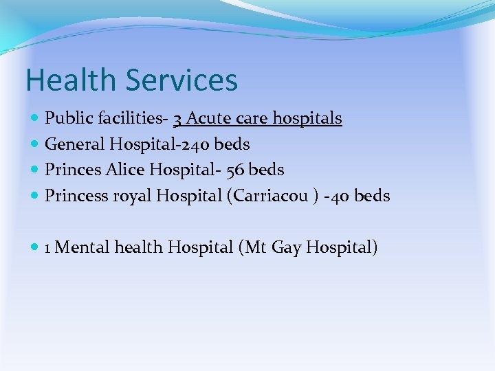 Health Services Public facilities- 3 Acute care hospitals General Hospital-240 beds Princes Alice Hospital-