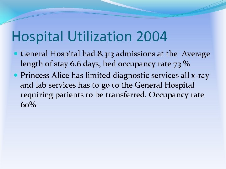 Hospital Utilization 2004 General Hospital had 8, 313 admissions at the Average length of