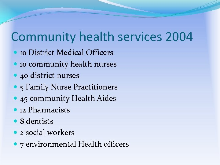 Community health services 2004 10 District Medical Officers 10 community health nurses 40 district