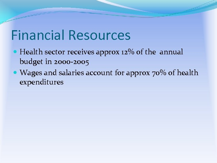 Financial Resources Health sector receives approx 12% of the annual budget in 2000 -2005