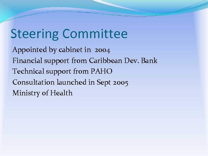 Steering Committee Appointed by cabinet in 2004 Financial support from Caribbean Dev. Bank Technical