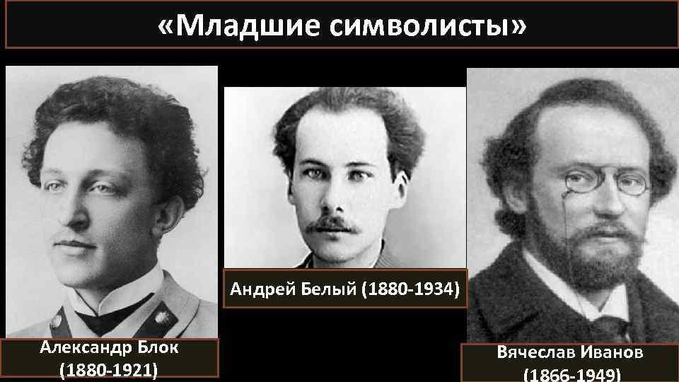 «Младшие символисты» Андрей Белый (1880 -1934) Александр Блок (1880 -1921) Вячеслав Иванов (1866