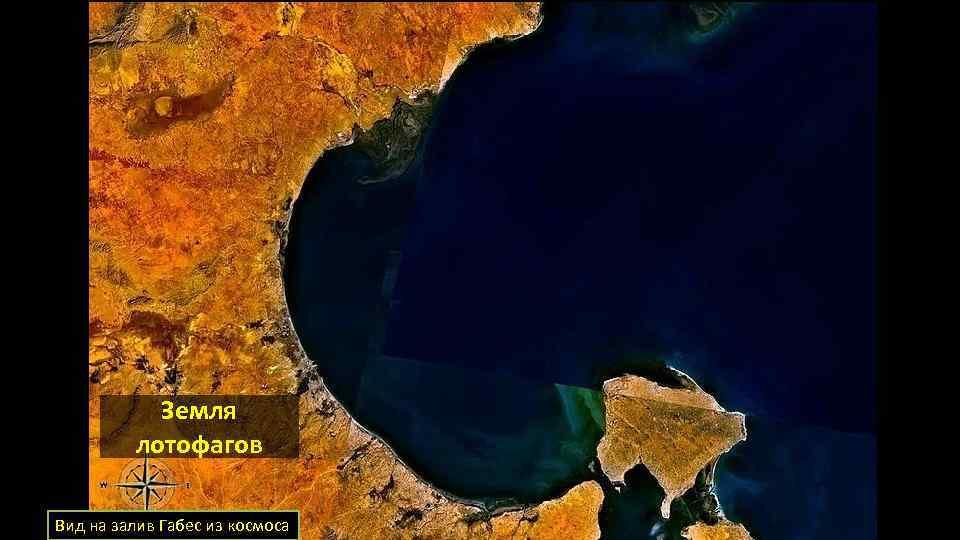 Земля лотофагов Вид на залив Габес из космоса