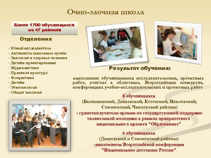 Очно-заочная школа Более 1700 обучающихся из 47 районов Отделения - Юный исследователь - Активисты