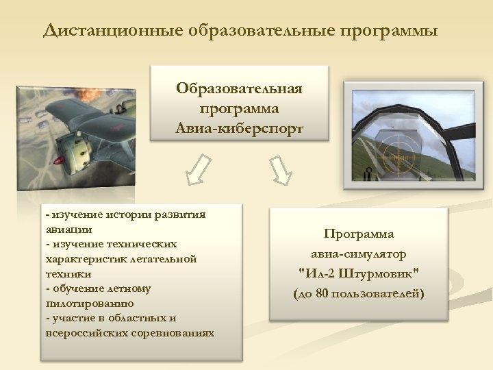 Дистанционные образовательные программы Образовательная программа Авиа-киберспорт - изучение истории развития авиации - изучение технических