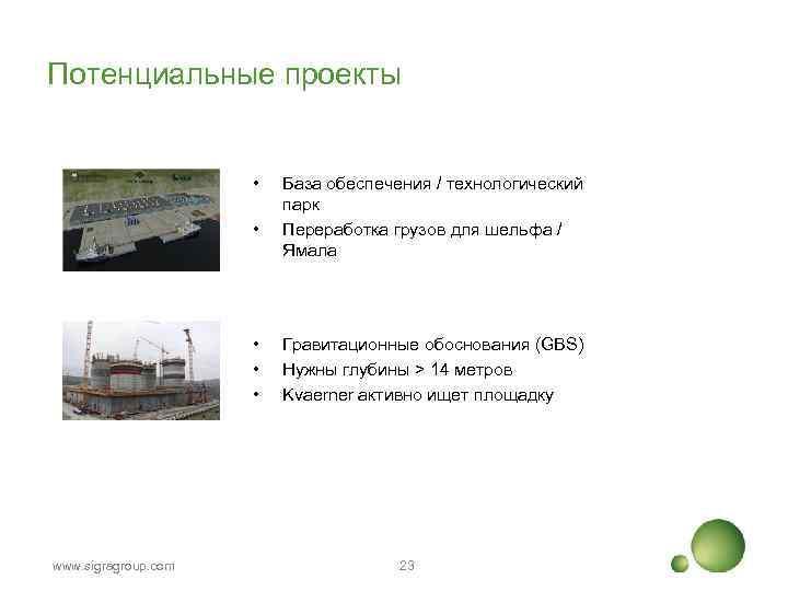 Потенциальные проекты • • • www. sigragroup. com База обеспечения / технологический парк Переработка