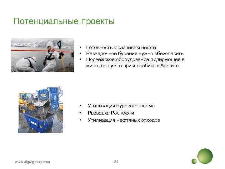 Потенциальные проекты • • • www. sigragroup. com Готовность к разливам нефти Разведочное бурение