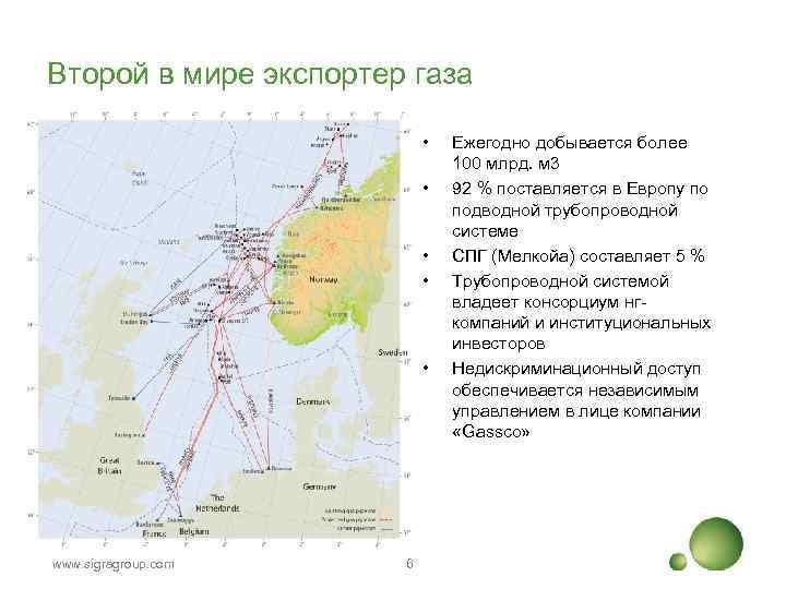 Второй в мире экспортер газа • • • www. sigragroup. com 6 Ежегодно добывается