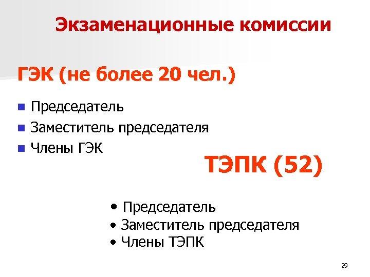 Экзаменационные комиссии ГЭК (не более 20 чел. ) Председатель n Заместитель председателя n Члены