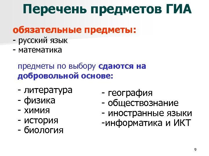 Перечень предметов ГИА обязательные предметы: - русский язык - математика предметы по выбору сдаются
