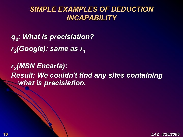 SIMPLE EXAMPLES OF DEDUCTION INCAPABILITY q 2: What is precisiation? r 2(Google): same as