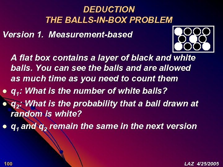 DEDUCTION THE BALLS-IN-BOX PROBLEM Version 1. Measurement-based l l l A flat box contains