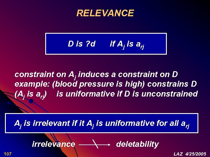 RELEVANCE D is ? d if Aj is arj constraint on Aj induces a