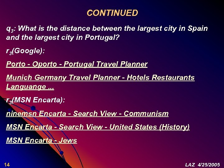 CONTINUED q 3: What is the distance between the largest city in Spain and