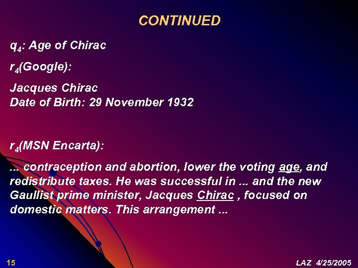 CONTINUED q 4: Age of Chirac r 4(Google): Jacques Chirac Date of Birth: 29
